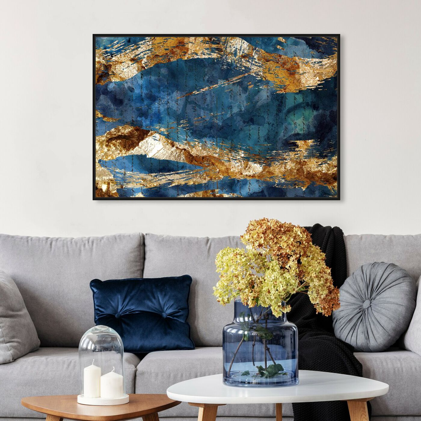 Hanging view of Marea Alta - Signature Collection featuring abstract and watercolor art.