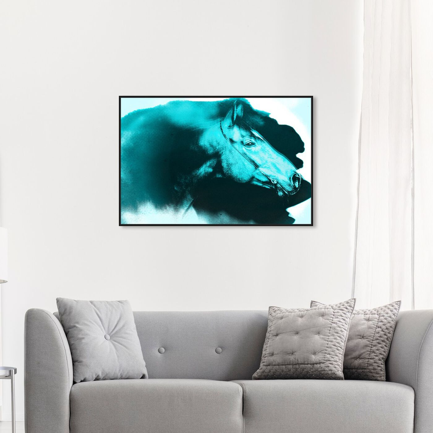 Hanging view of Carson Kressley - Absorbed Neon Blue featuring animals and farm animals art.