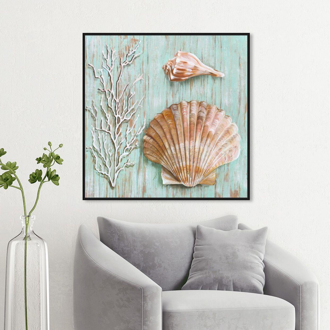 Hanging view of SAI - Maritimas Treasures IV featuring nautical and coastal and marine life art.