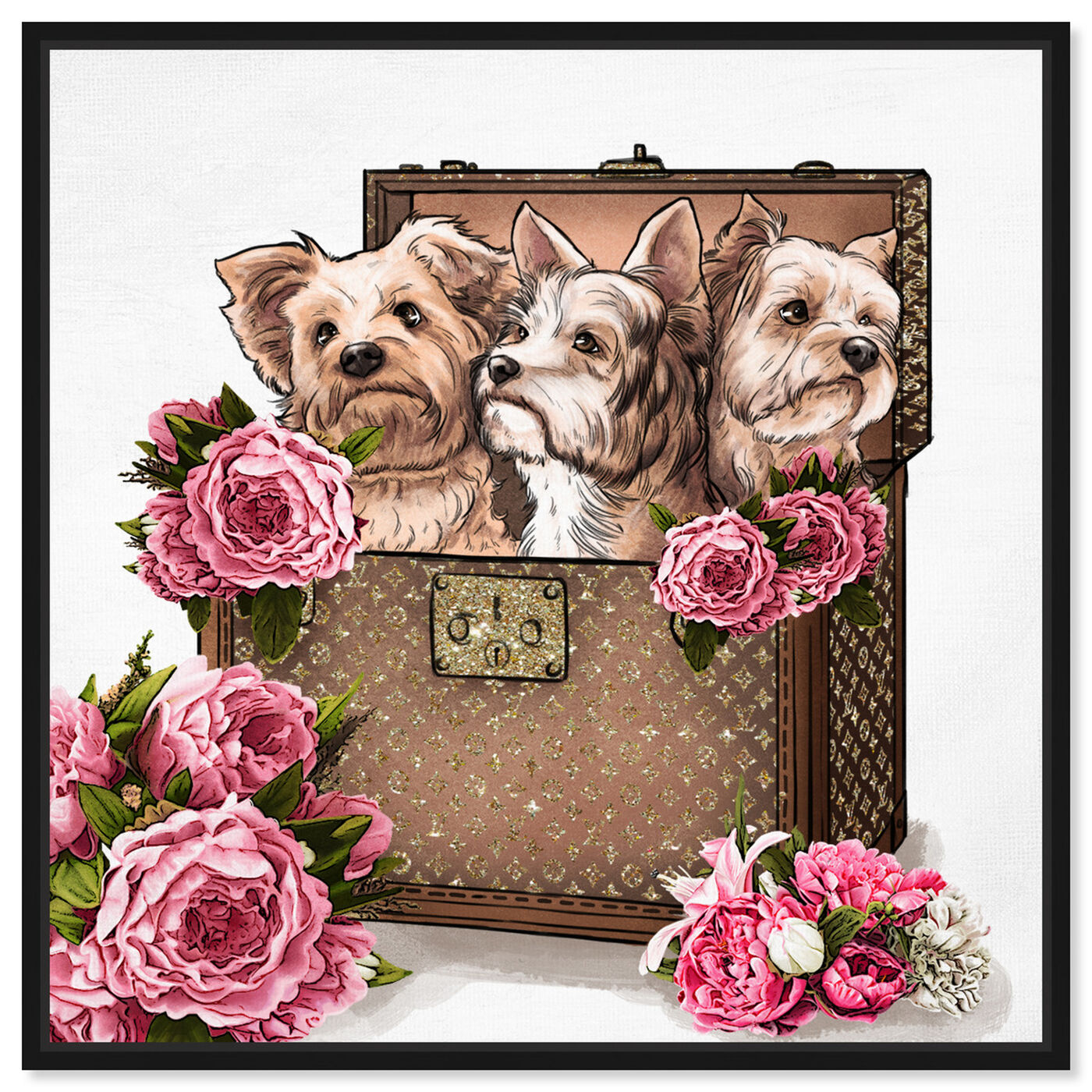 Front view of Treasured Yorkies featuring fashion and glam and travel essentials art.