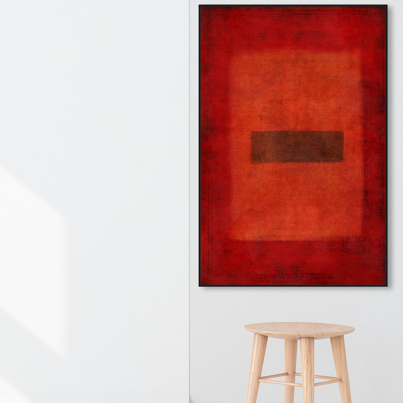 Hanging view of One Dark in Red featuring abstract and paint art.