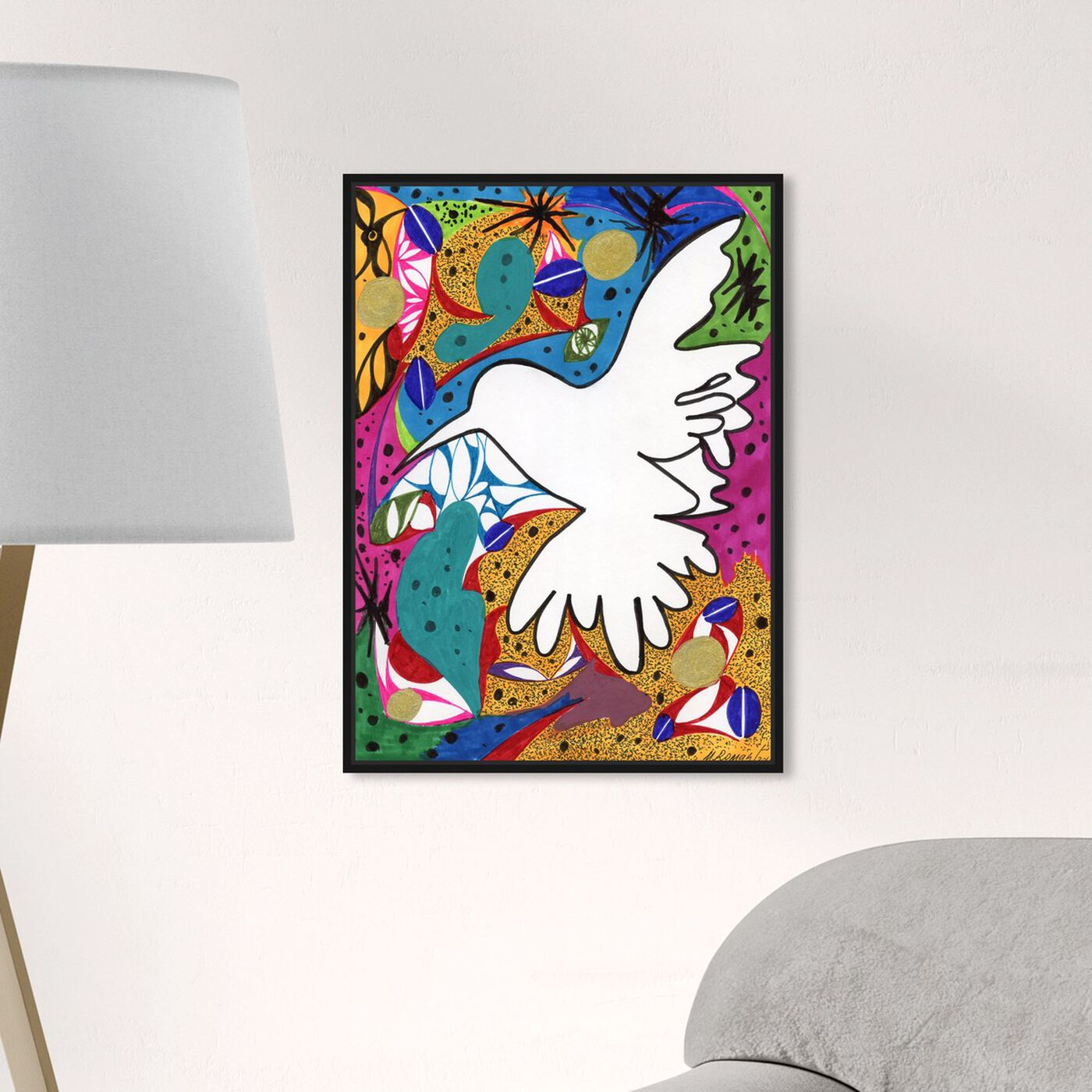 Hanging view of Hummingbird of Peace featuring abstract and shapes art.