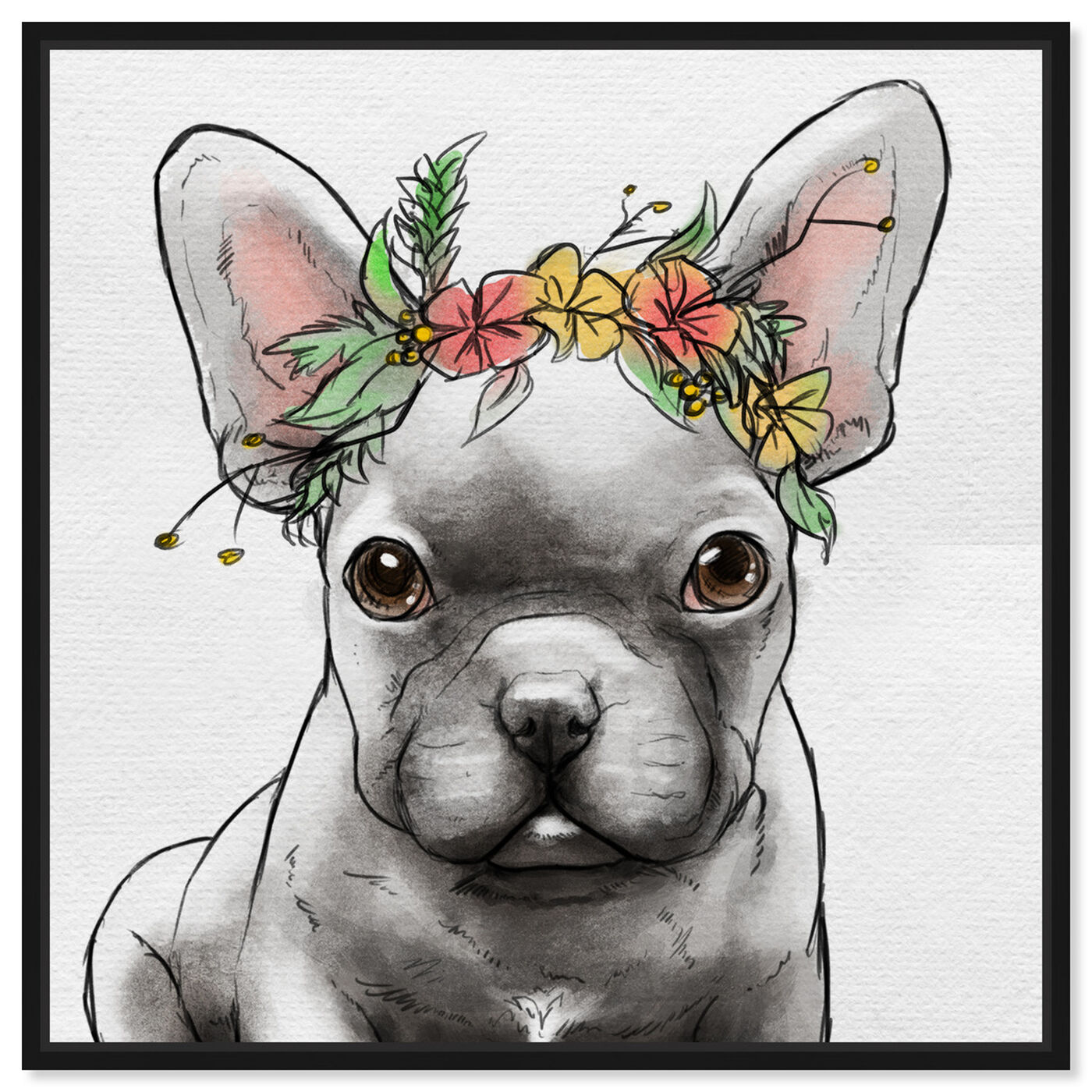 Front view of Floral Crown Frenchie II featuring animals and dogs and puppies art.