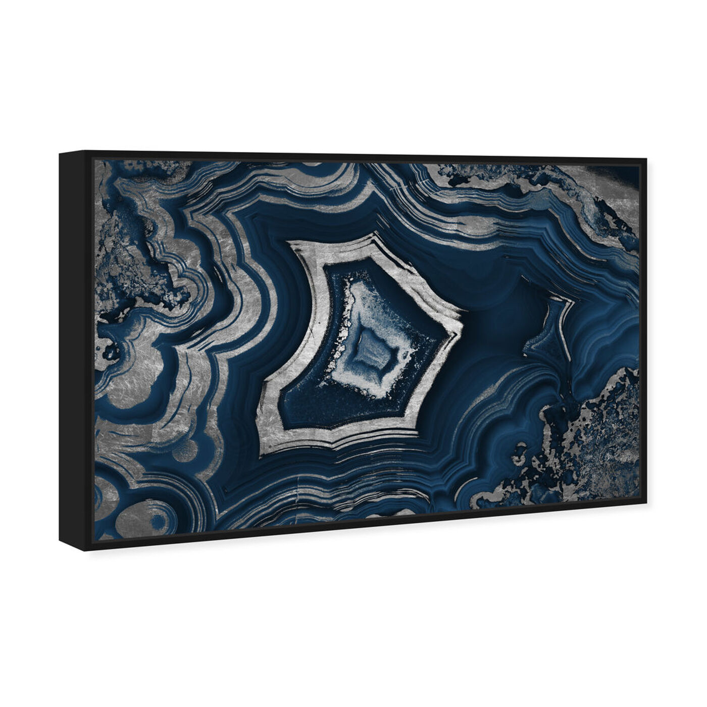 Angled view of Dreaming About You Geode Navy featuring abstract and crystals art.