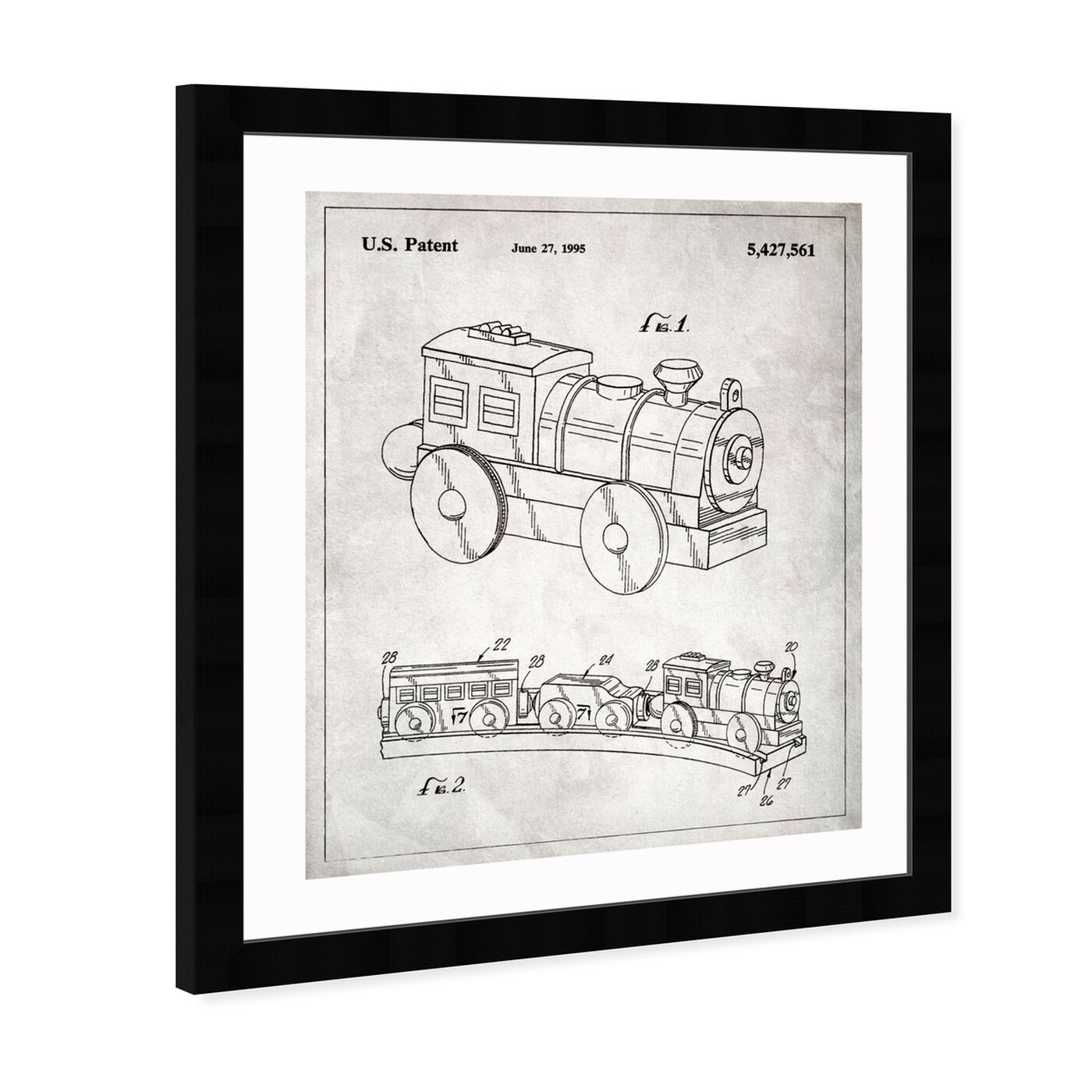 Angled view of Toy Train, 1995 featuring symbols and objects and toys art.