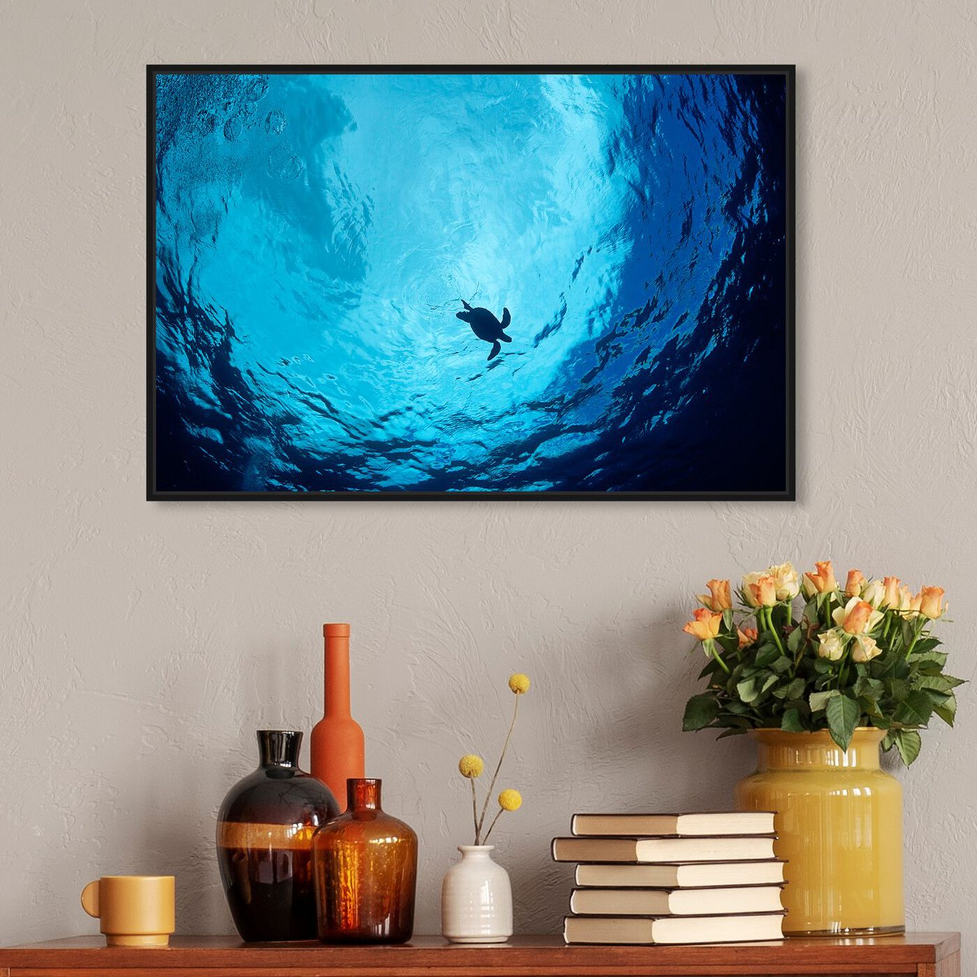 Hanging view of Blue Green Sea Turtle by David Fleetham featuring nautical and coastal and marine life art.