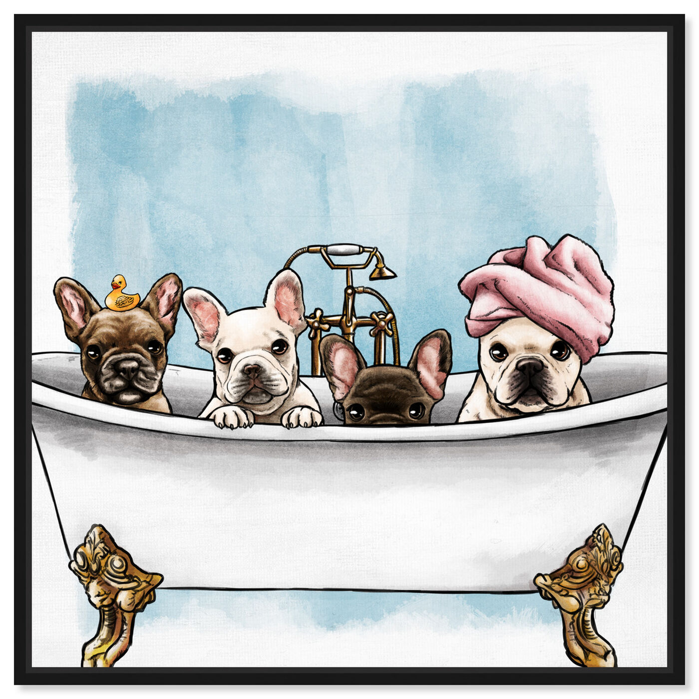 Front view of Frenchies In The Tub featuring animals and dogs and puppies art.