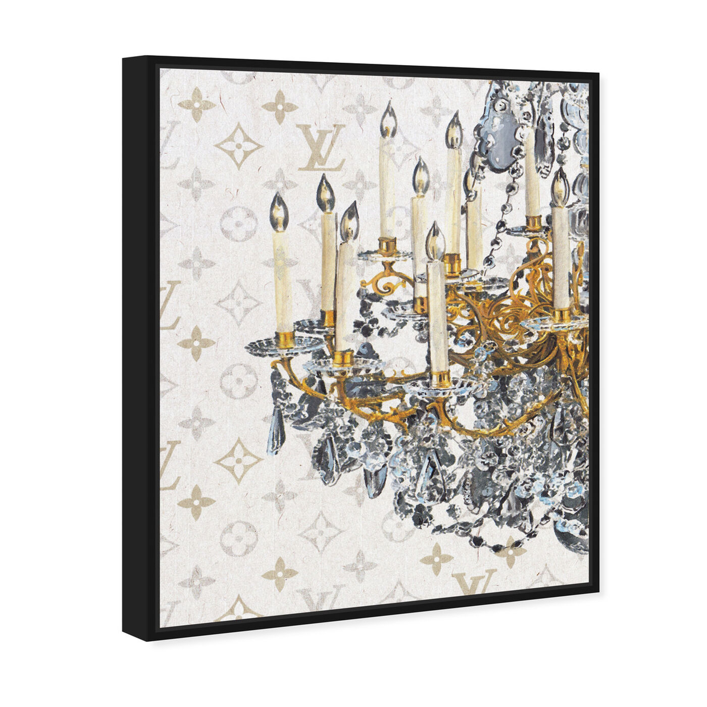 Angled view of Fancy Light I featuring fashion and glam and chandeliers art.