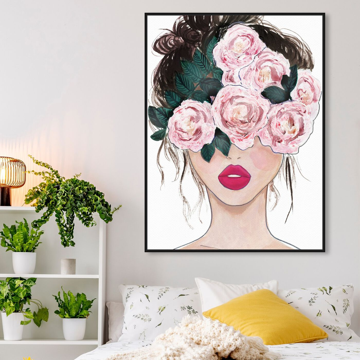 Hanging view of Flower Blind featuring floral and botanical and florals art.