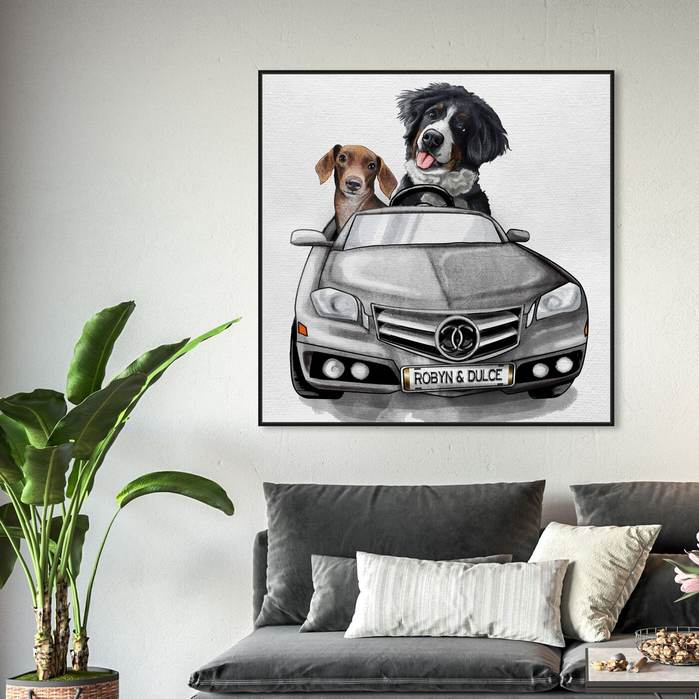 Hanging view of Luxury Car Duo featuring fashion and glam and dogs and puppies art.