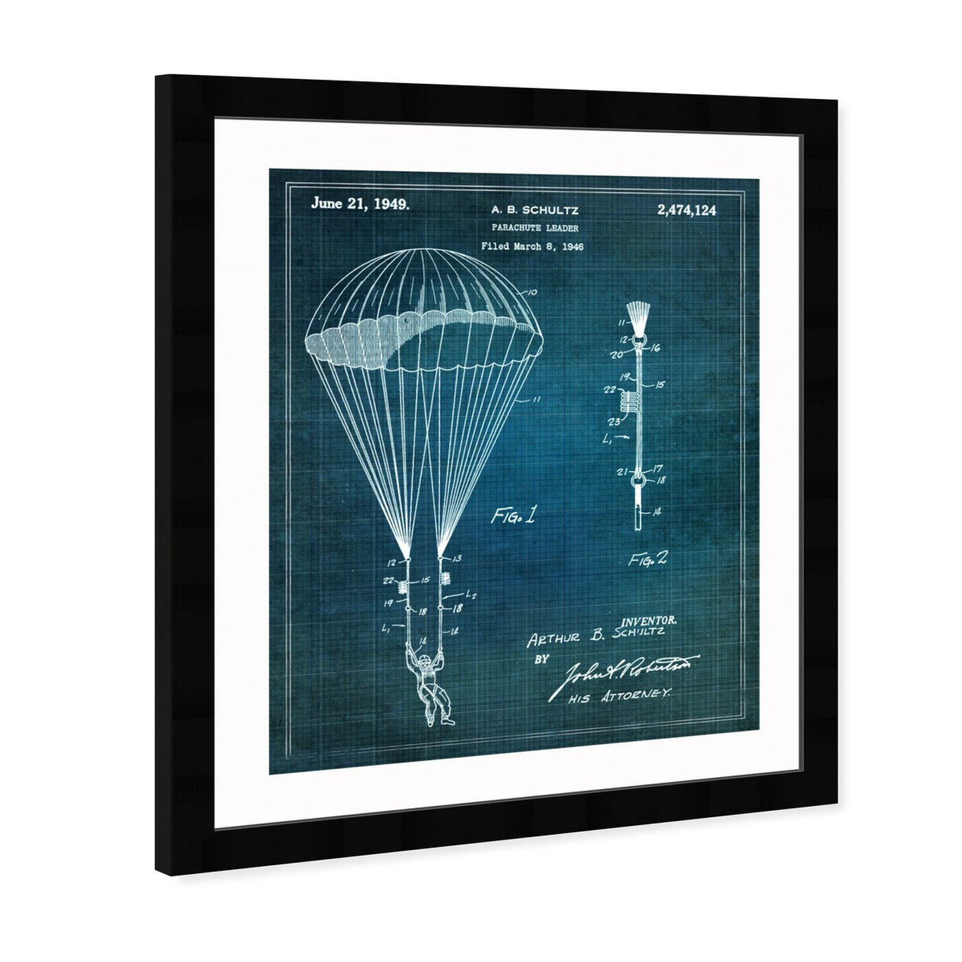 Angled view of Parachute Leader 1949 featuring transportation and air transportation art.