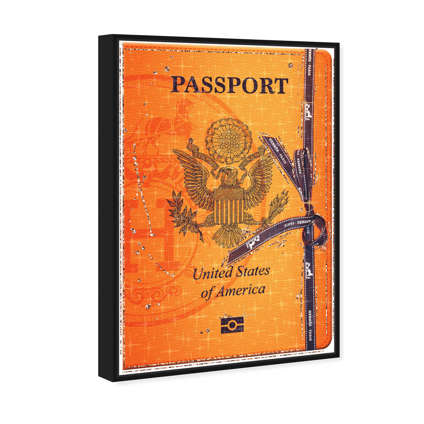 Angled view of French Passport featuring fashion and glam and travel essentials art.
