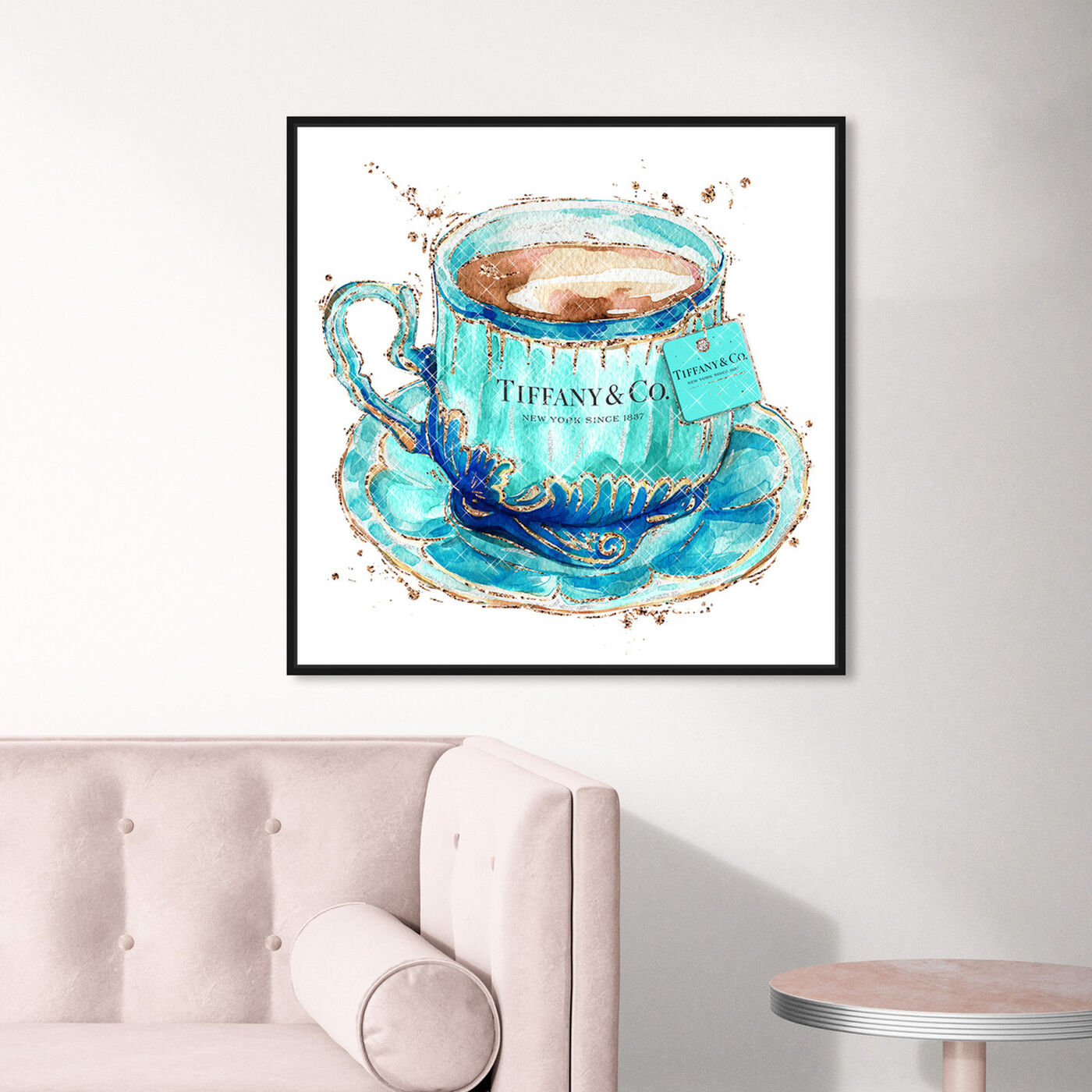 Hanging view of Aqua Tea Cup featuring fashion and glam and fashion lifestyle art.