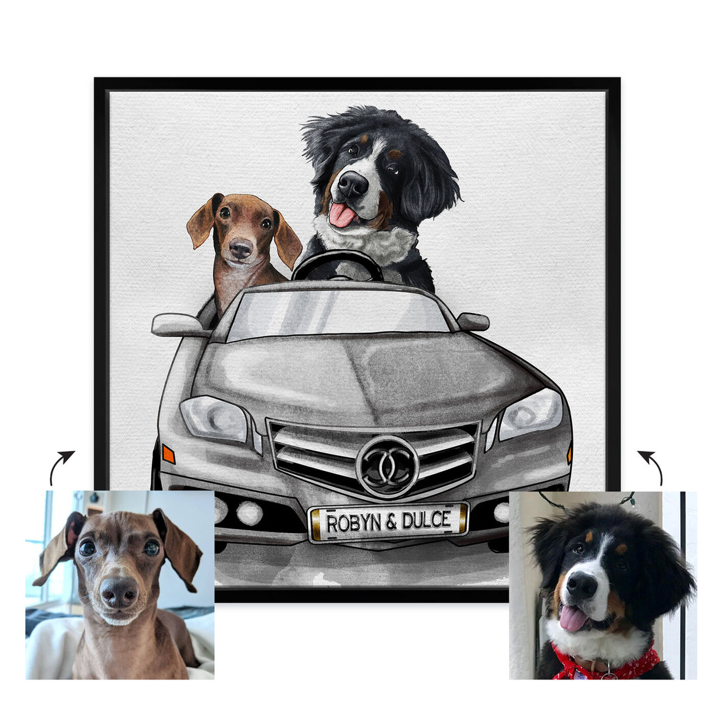 Front view of Luxury Car Duo featuring fashion and glam and dogs and puppies art.