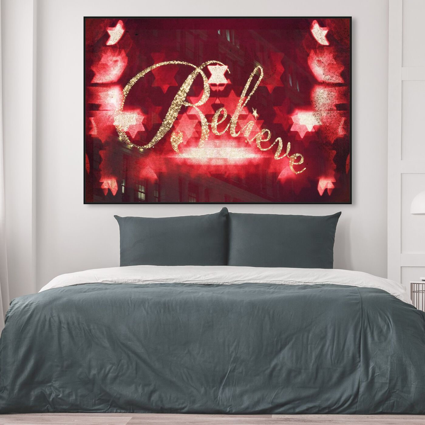 Hanging view of Believe featuring typography and quotes and quotes and sayings art.