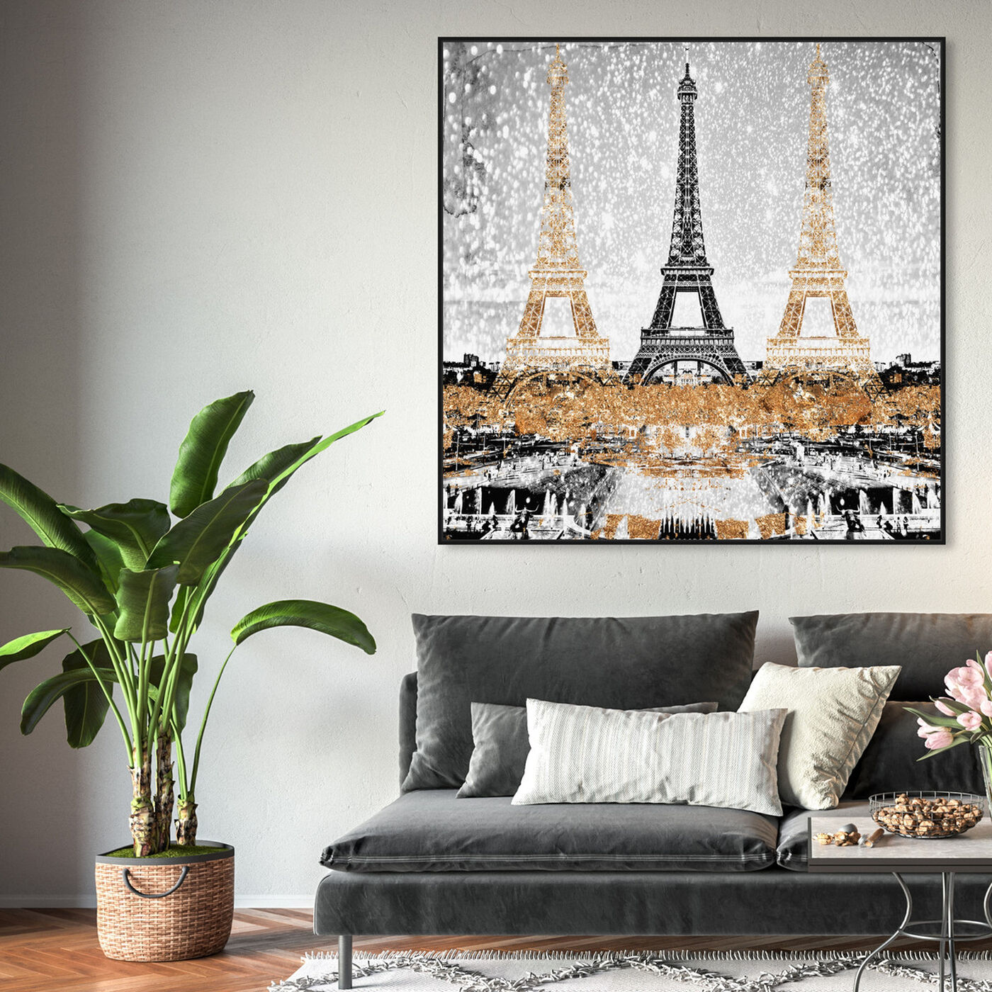 Hanging view of Triple Paris Gold featuring cities and skylines and european cities art.