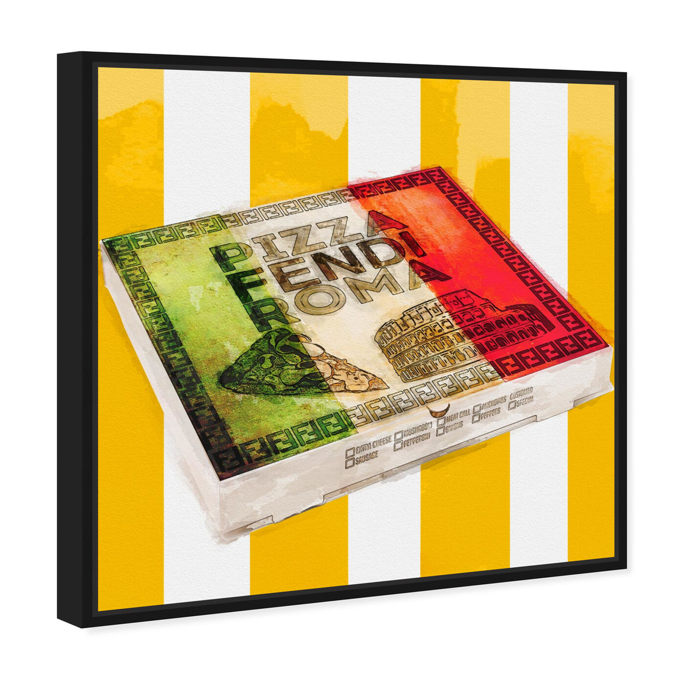 Angled view of Italian Pizza Box  featuring food and cuisine and fast food art.