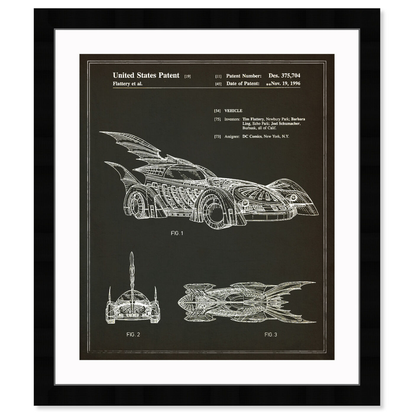 Front view of Batmobile 1996 I featuring symbols and objects and toys art.