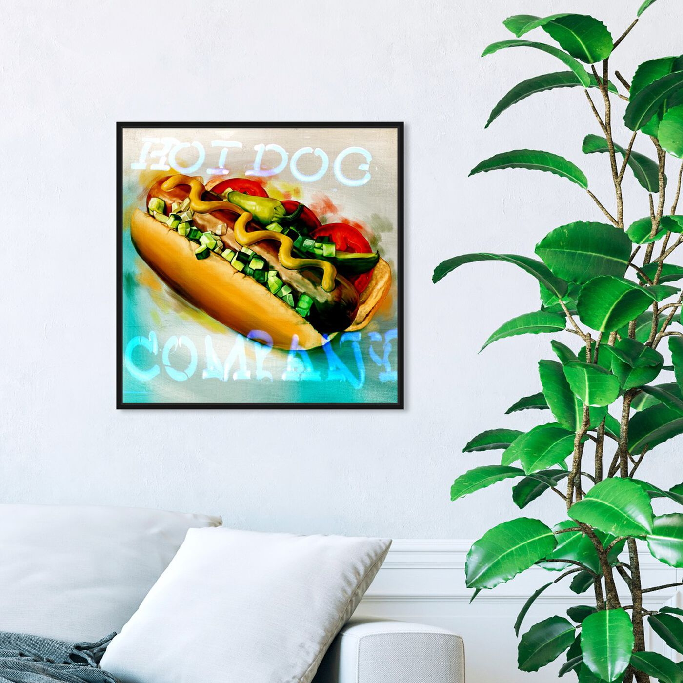 Hanging view of Hot Dog Company featuring food and cuisine and fast food art.