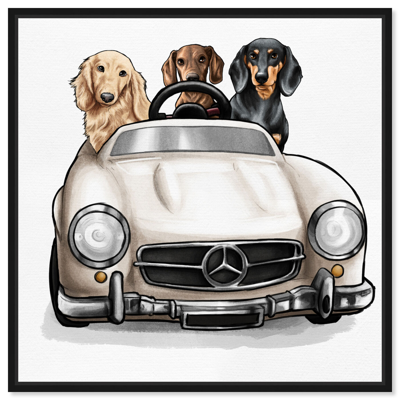 Front view of Strolling in Style dachshunds featuring animals and dogs and puppies art.