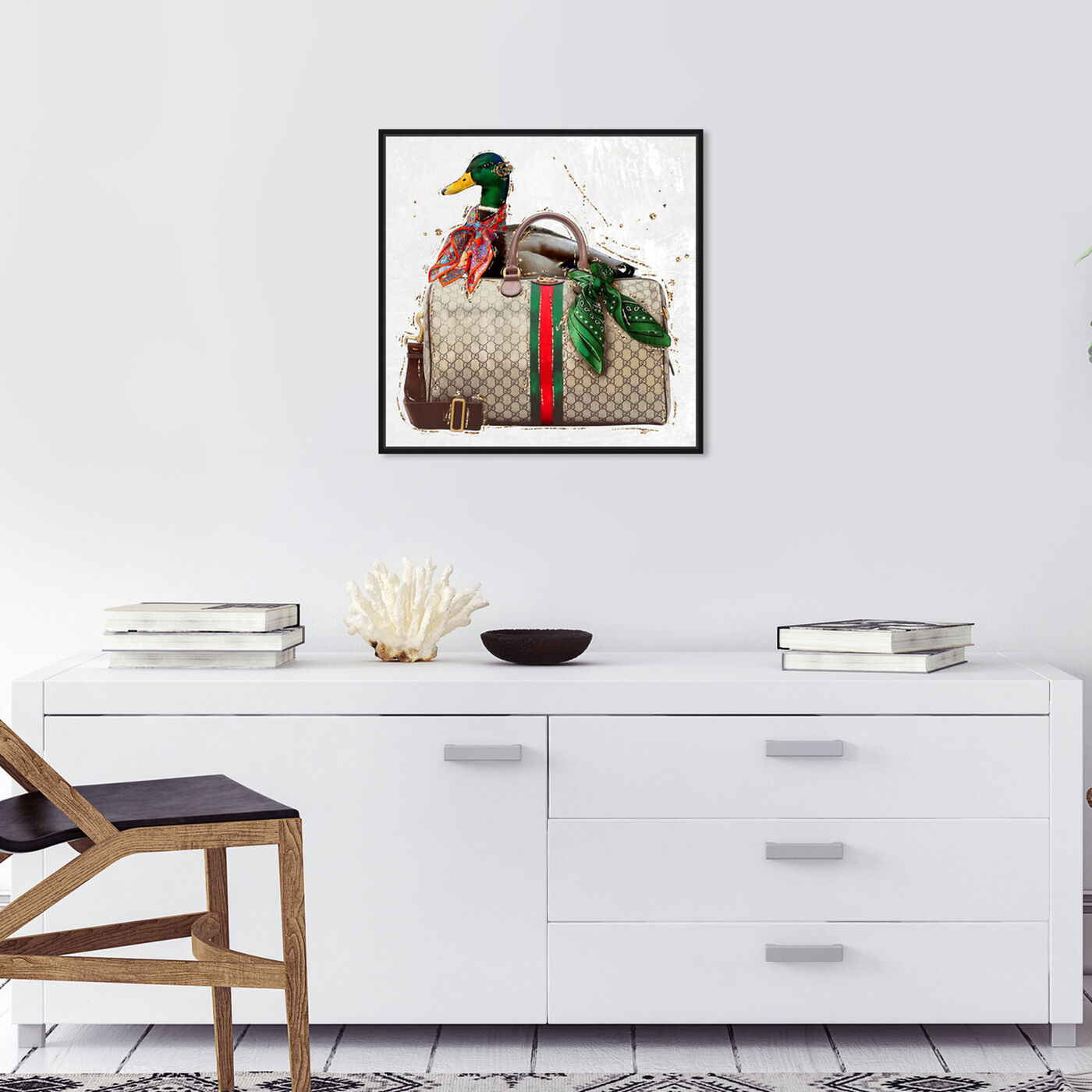 Hanging view of Short Neck Who featuring animals and birds art.