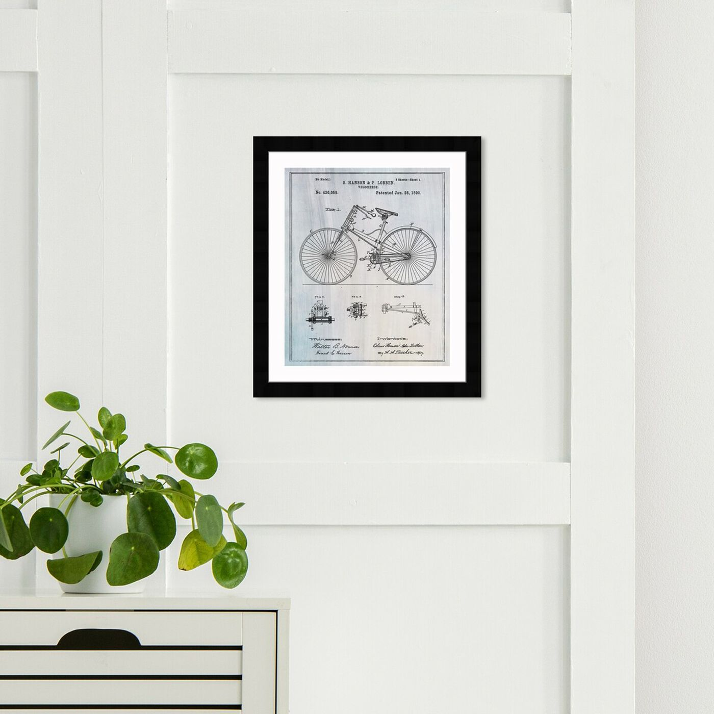Hanging view of Bicycle 1890 featuring transportation and bicycles art.