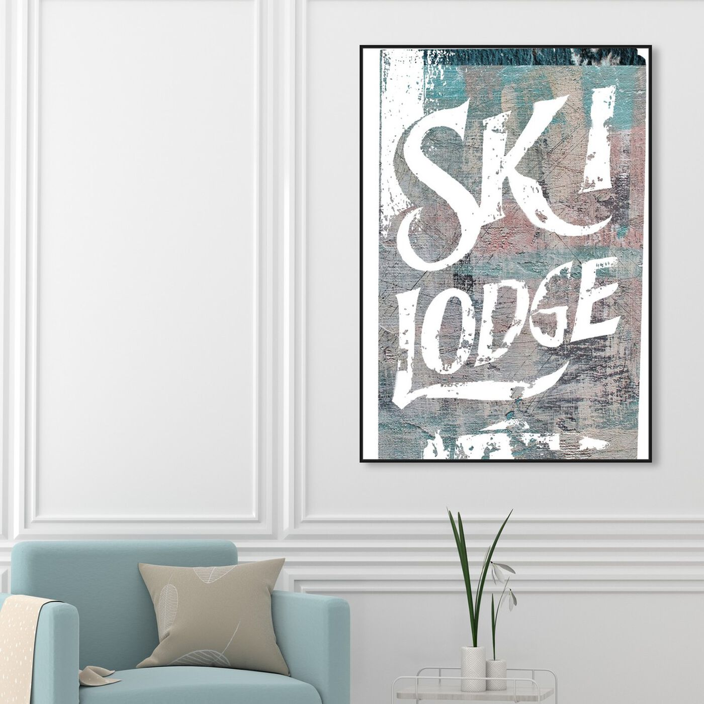 Hanging view of Ski Lodge featuring sports and teams and skiing art.