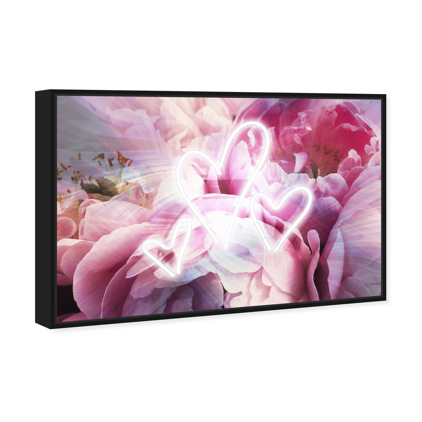 Angled view of LED Hearts featuring floral and botanical and florals art.
