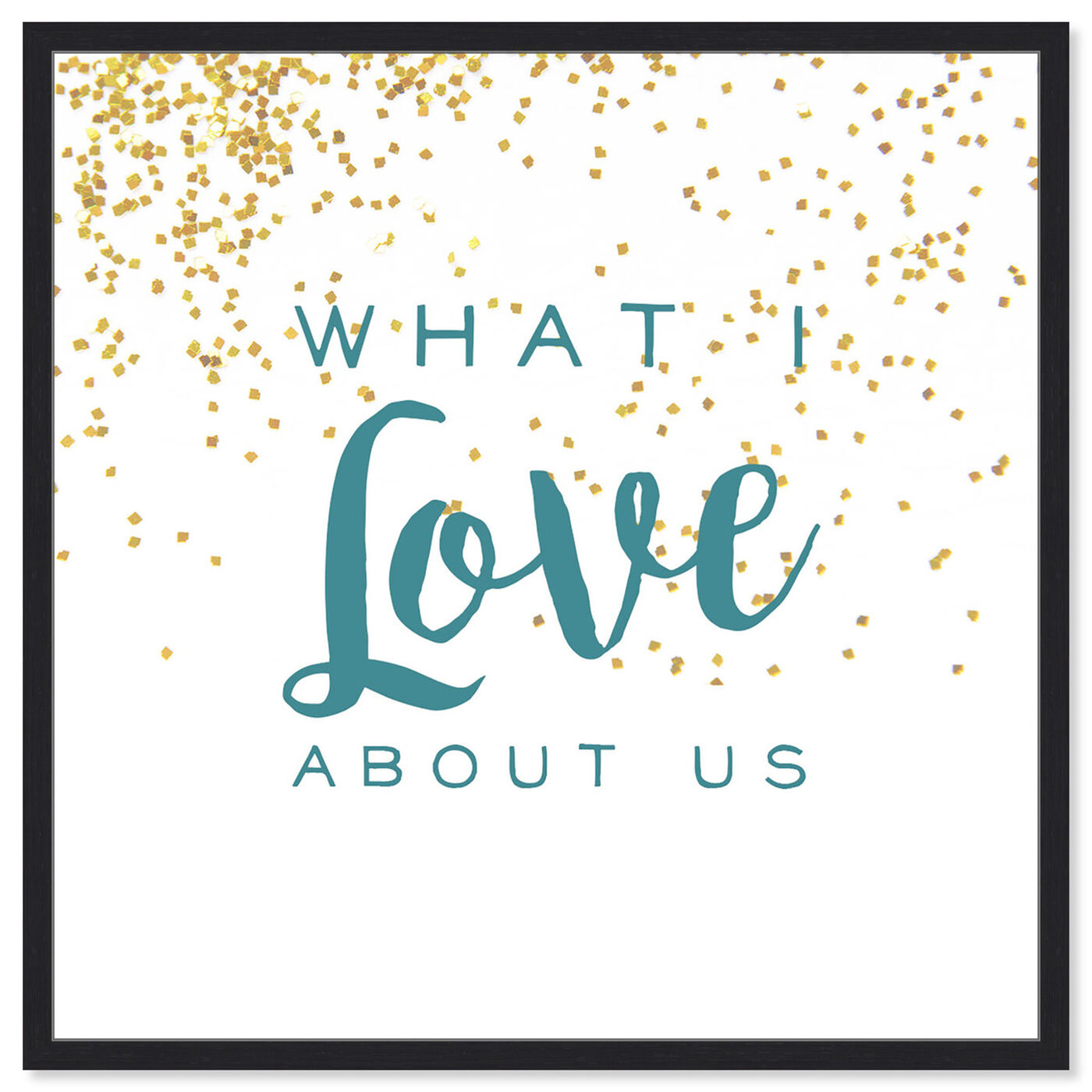 Front view of What I Love About Us featuring typography and quotes and love quotes and sayings art.