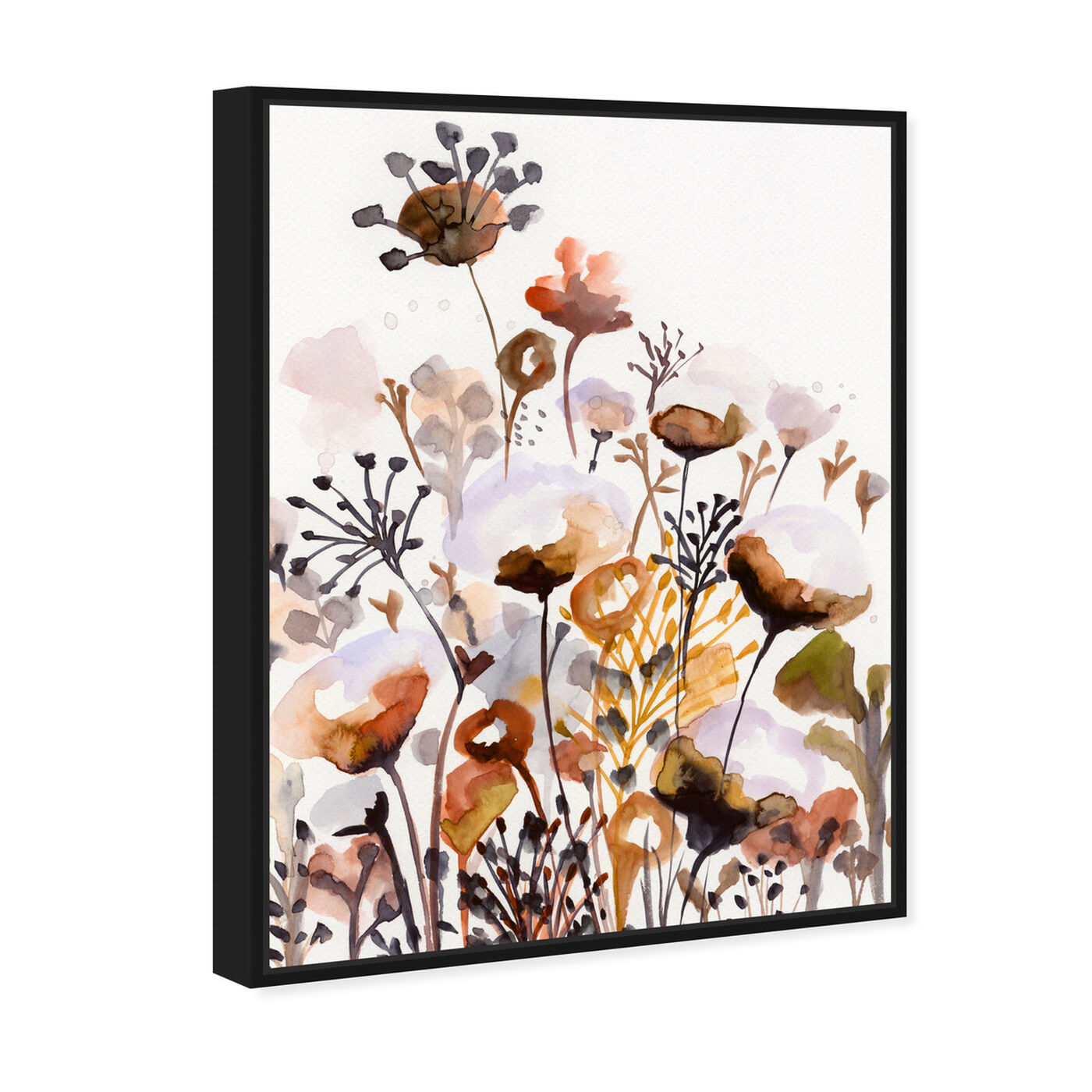 Angled view of Deep Forest Earthy Brown featuring floral and botanical and gardens art.