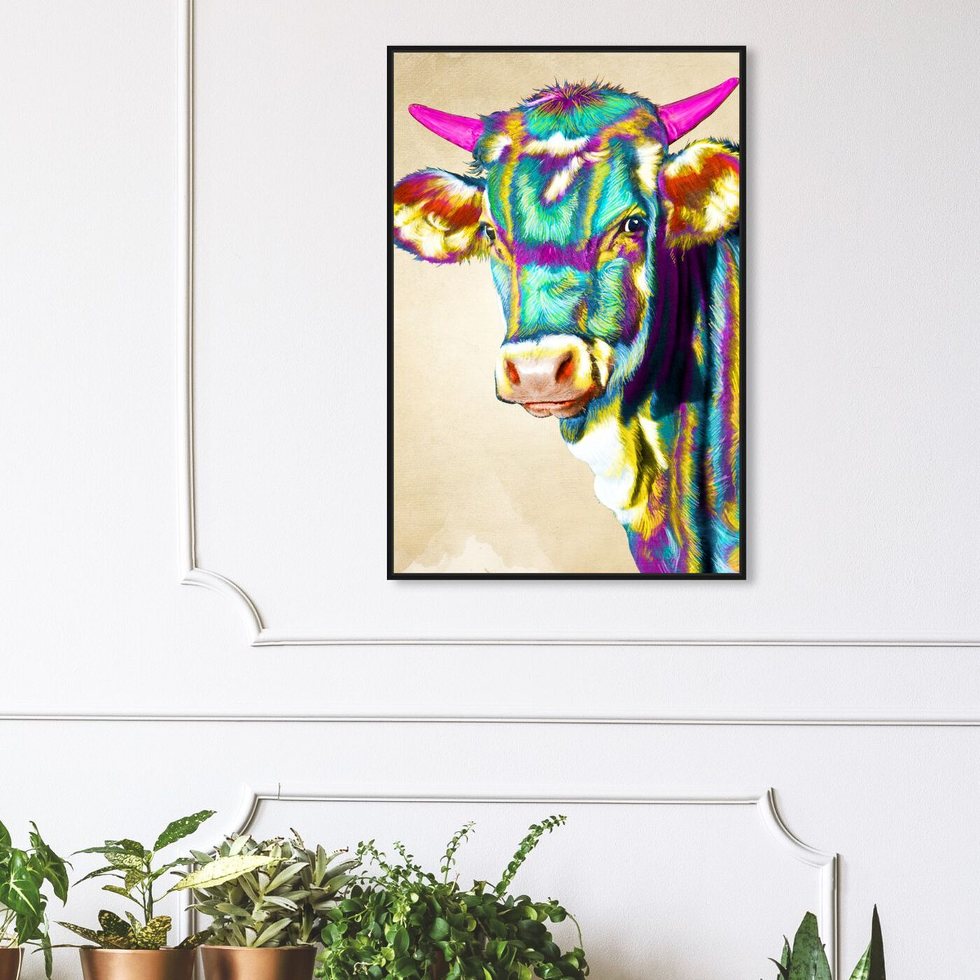 Hanging view of Color Glam Cow featuring animals and farm animals art.