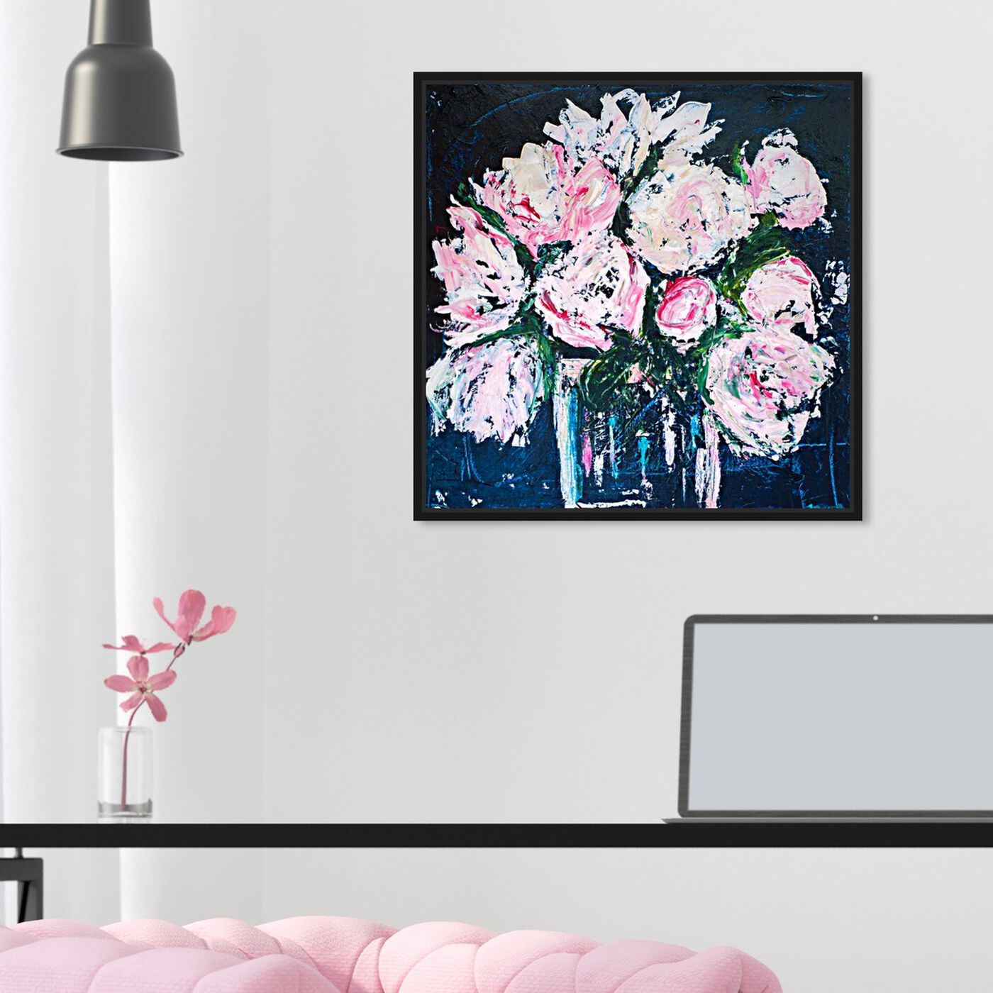 Hanging view of Peonies by The Bucket by Claire Sower featuring floral and botanical and florals art.