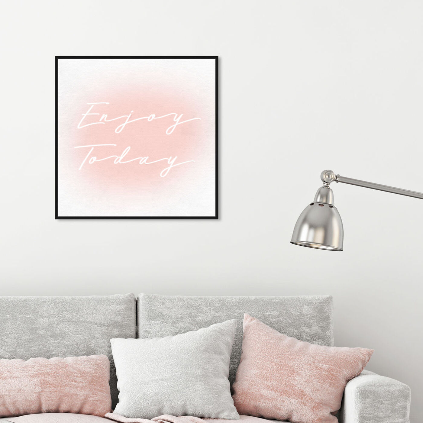 Hanging view of Enjoy Today Light Bright featuring typography and quotes and inspirational quotes and sayings art.