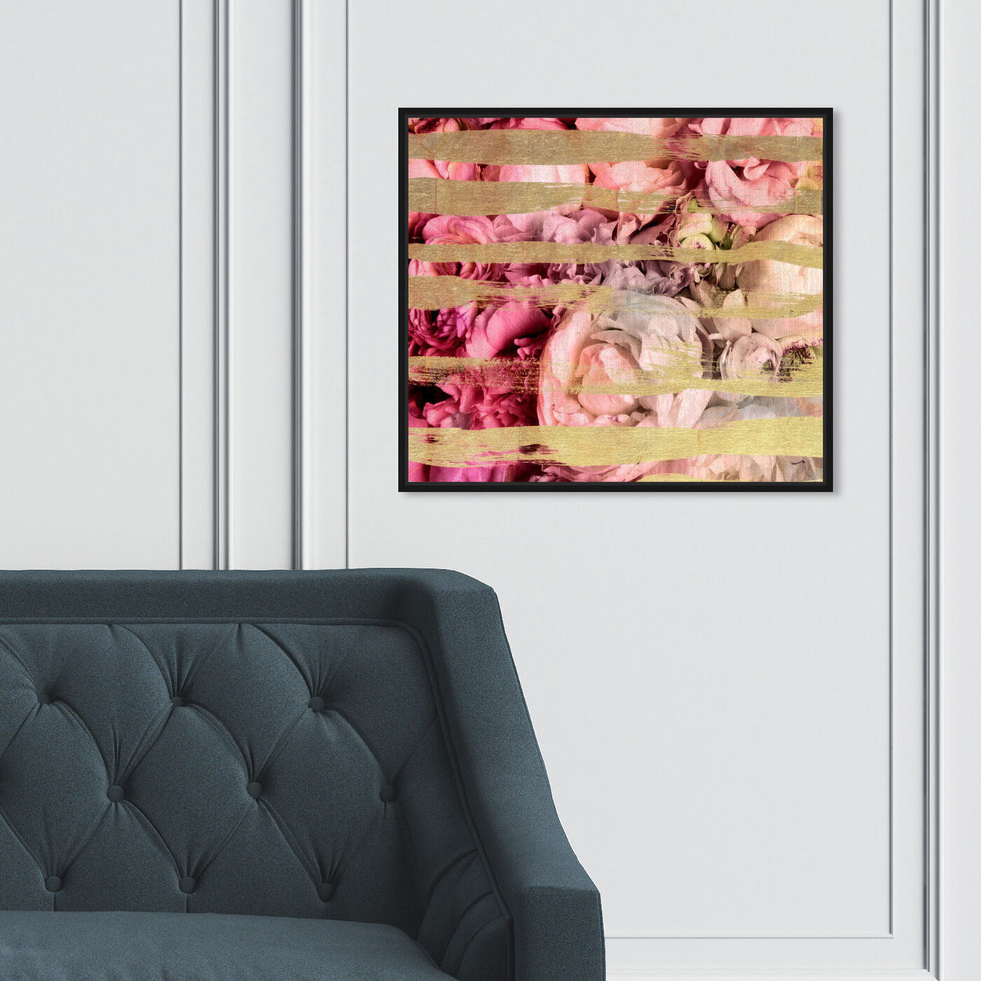 Hanging view of Fields Of Rose featuring abstract and shapes art.