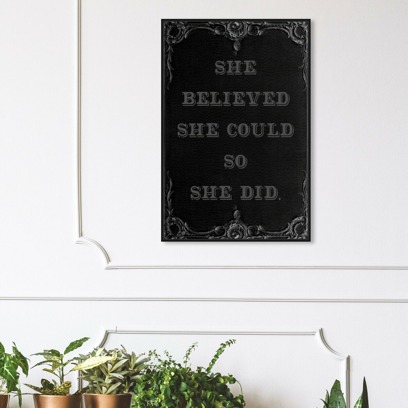 Hanging view of She Believed She Could II featuring typography and quotes and empowered women quotes and sayings art.