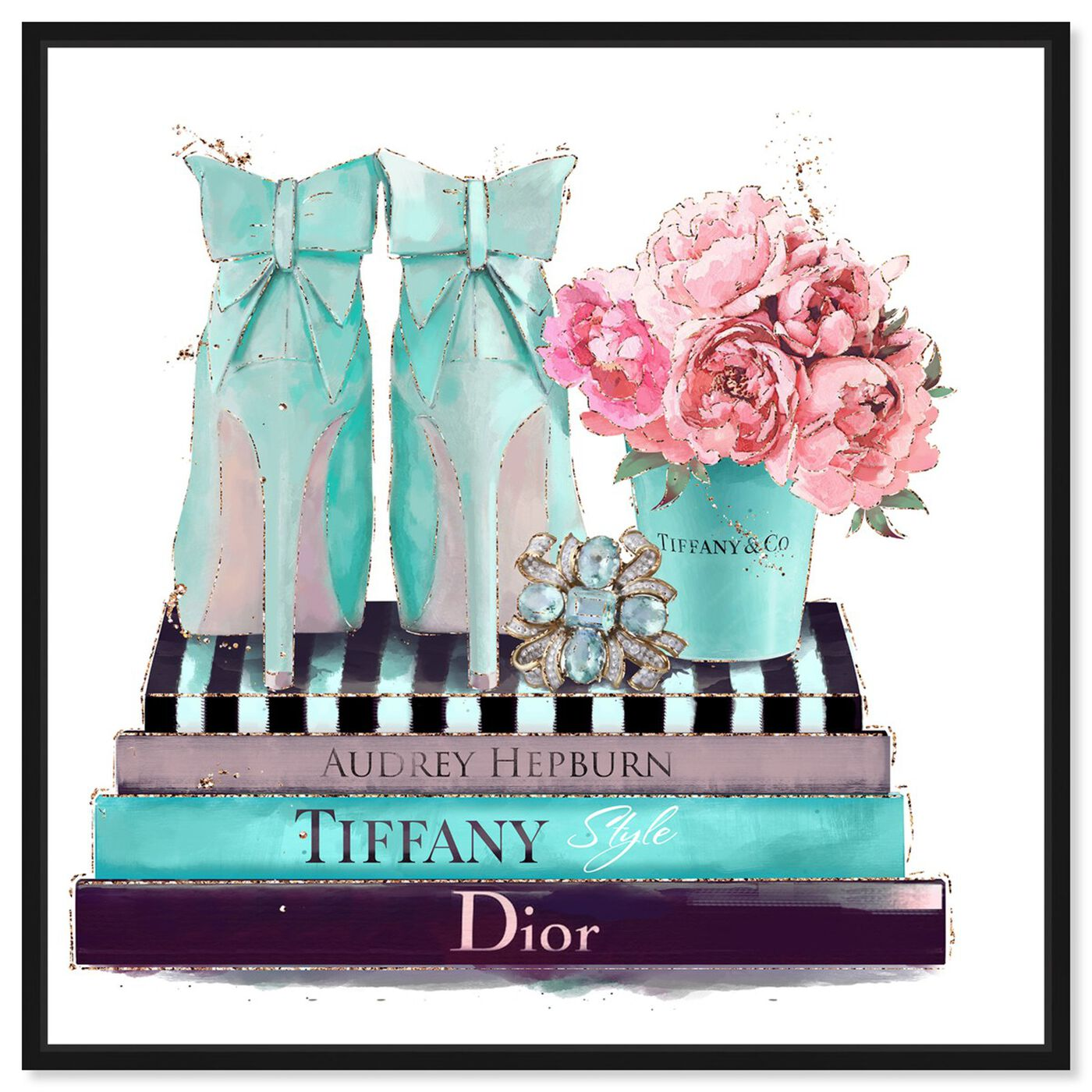 Front view of Modestly Aquamarine Display featuring fashion and glam and shoes art.