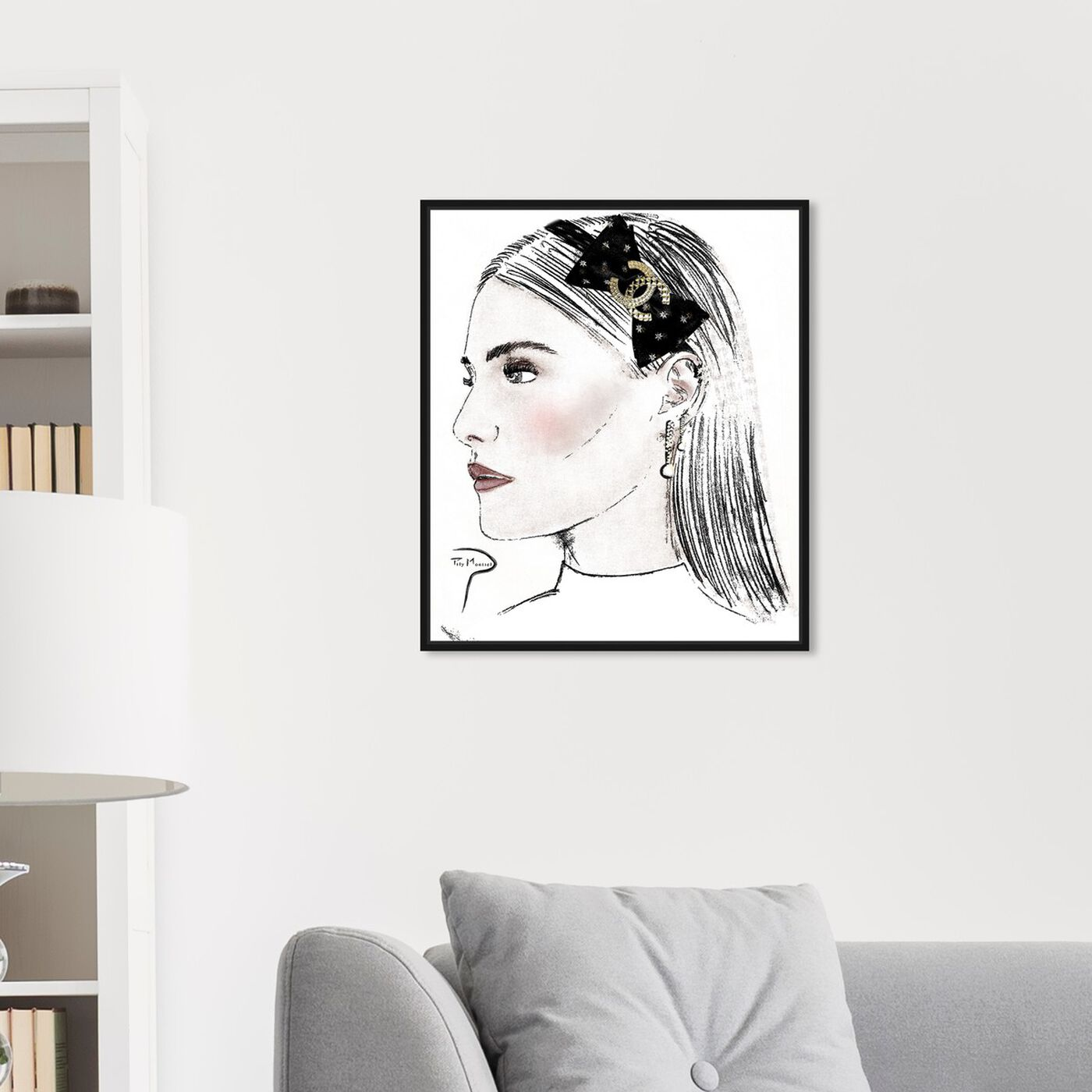 Hanging view of Pily Montiel - PROFILE GIRL PENCIL featuring fashion and glam and portraits art.
