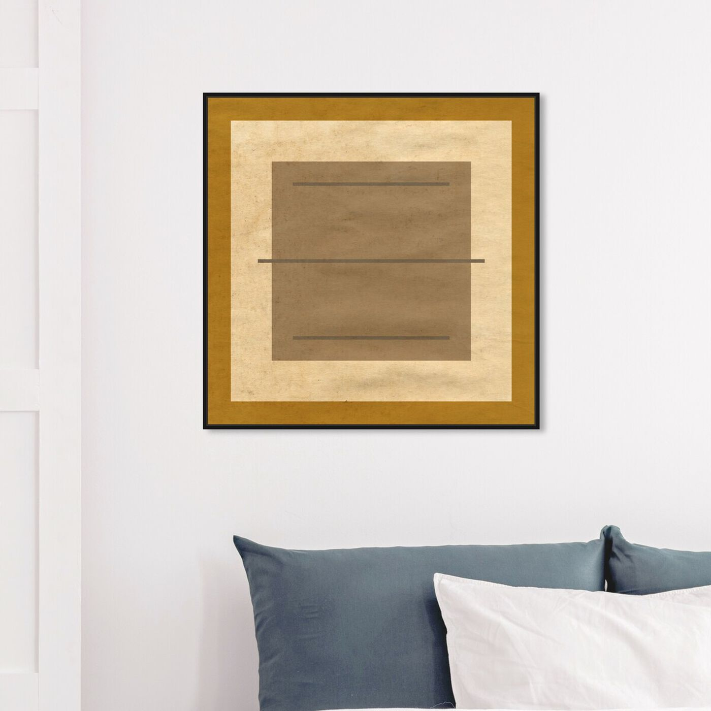 Hanging view of Amarillo Alberto - Signature Collection featuring abstract and geometric art.
