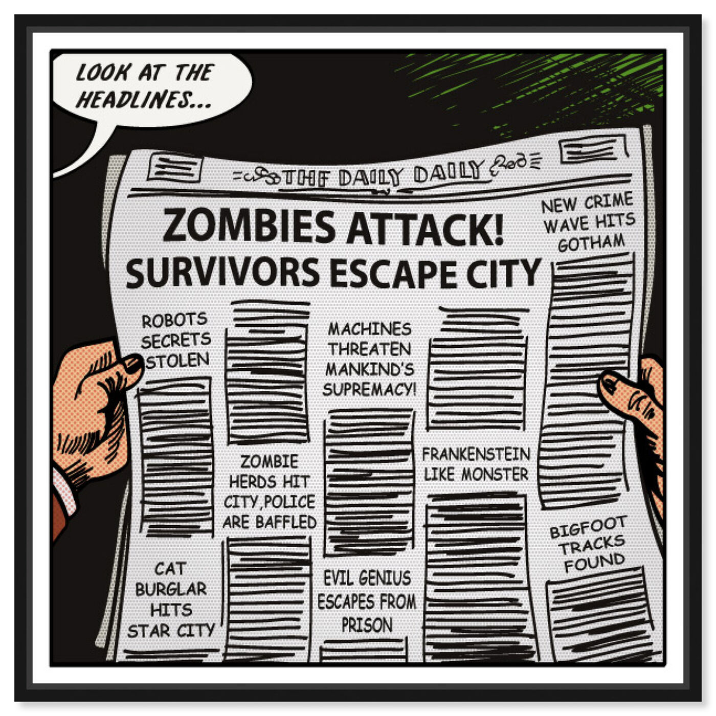 Front view of Look At The Headlines featuring advertising and comics art.