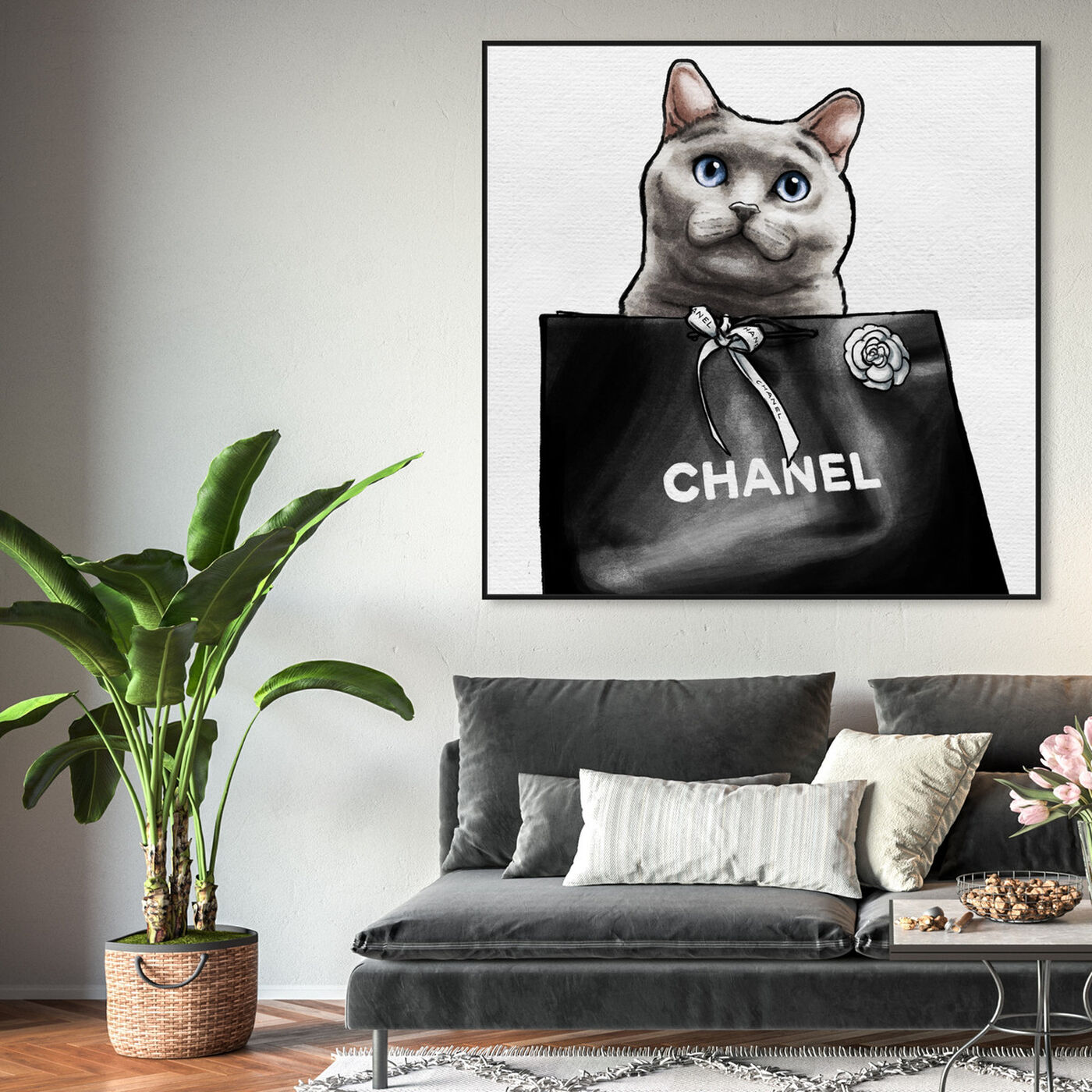 Hanging view of Feline Glam II featuring fashion and glam and lifestyle art.