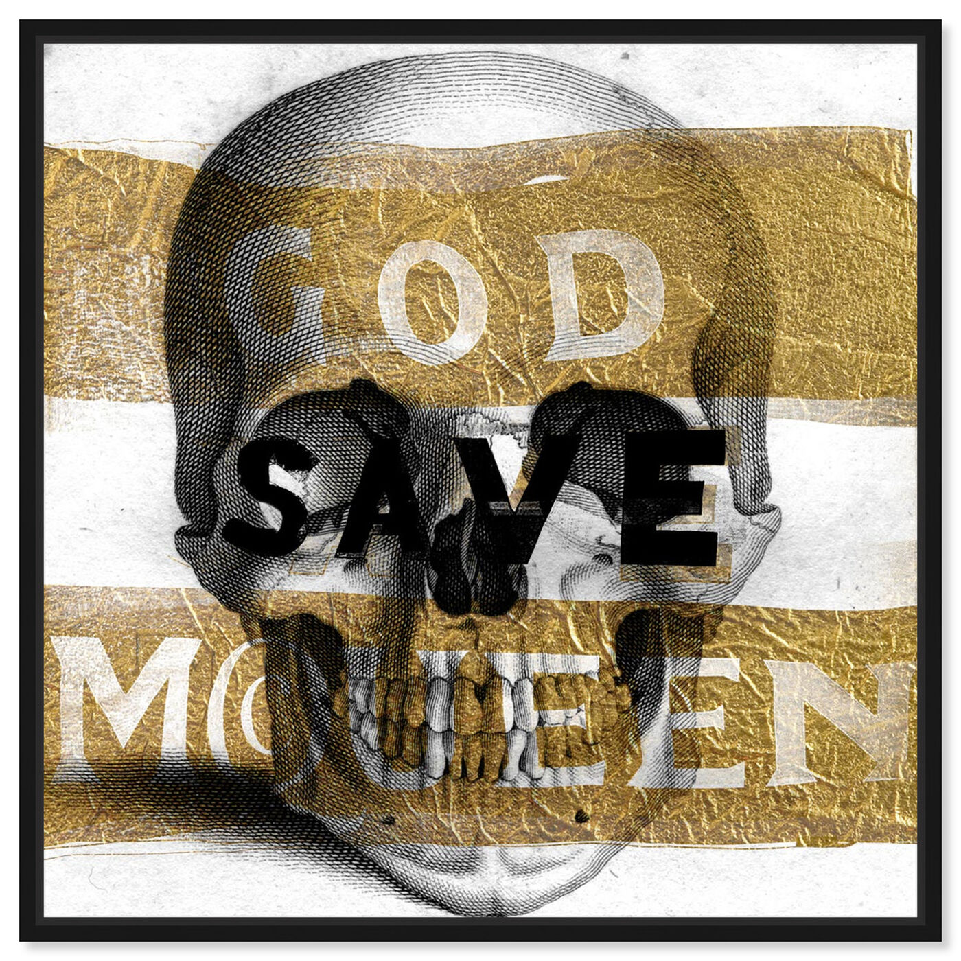 Front view of McQueen  featuring symbols and objects and skull art.