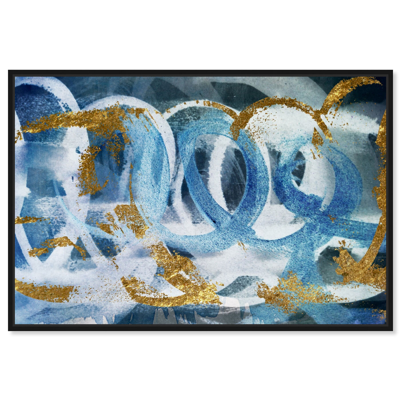 Front view of Scriptica GOLD and BLUE featuring abstract and paint art.