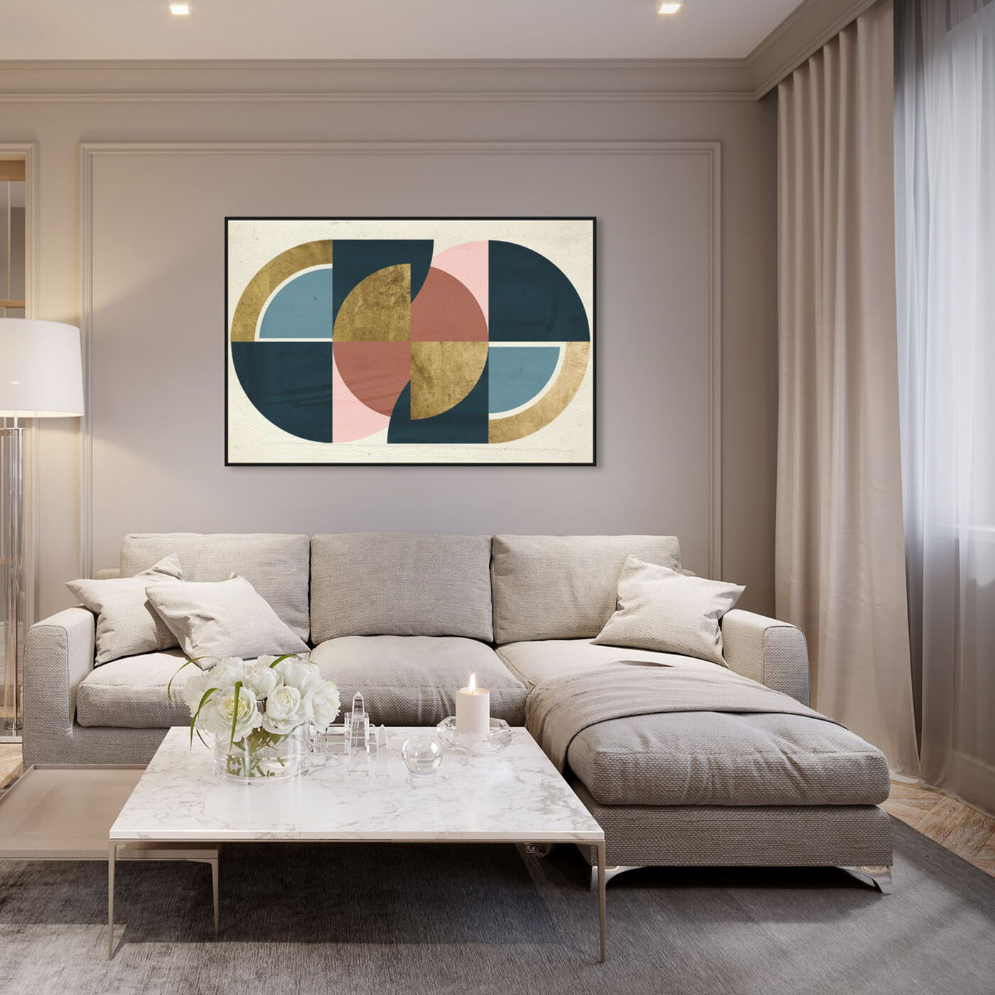 Hanging view of Rotating Puzzle Spheres III Gold featuring abstract and geometric art.