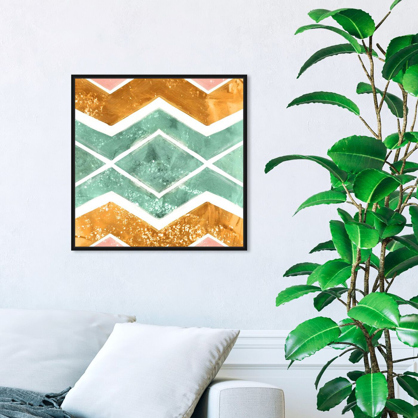 Hanging view of Rayada featuring abstract and patterns art.