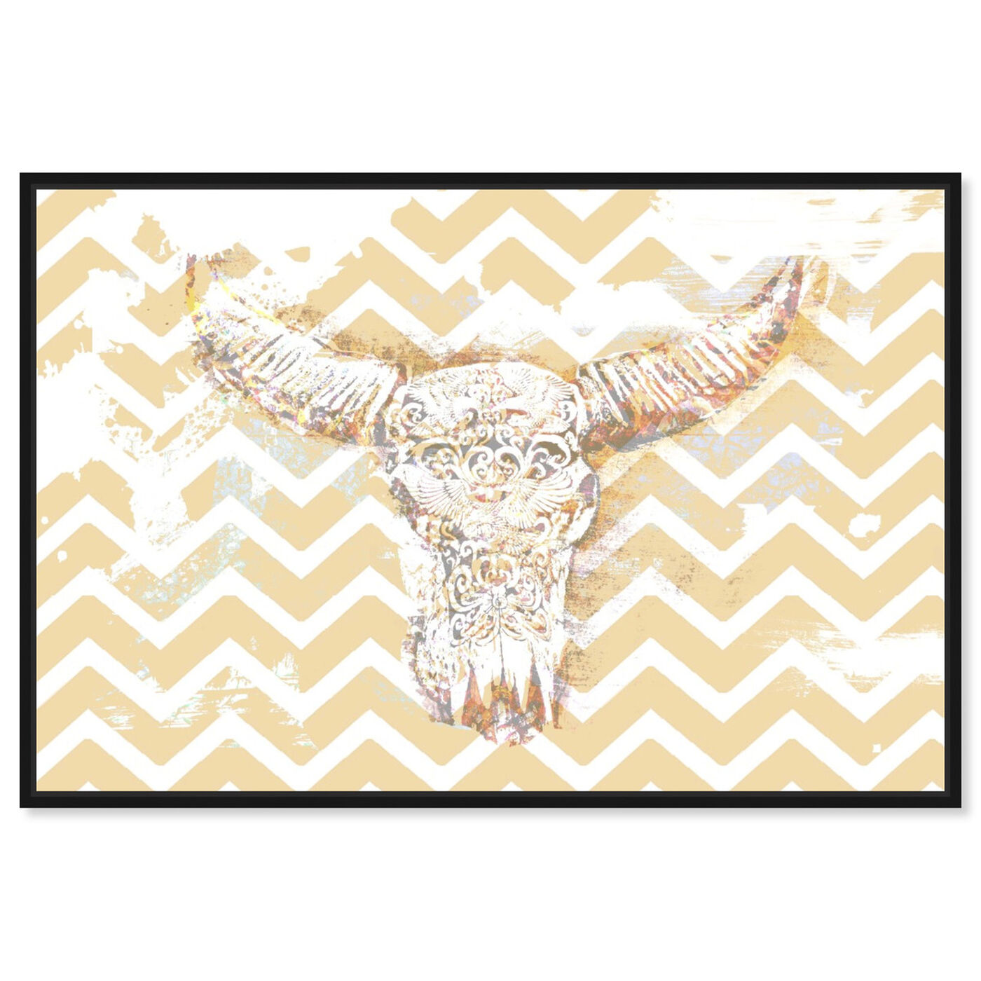 Front view of Chevron Skull featuring animals and farm animals art.