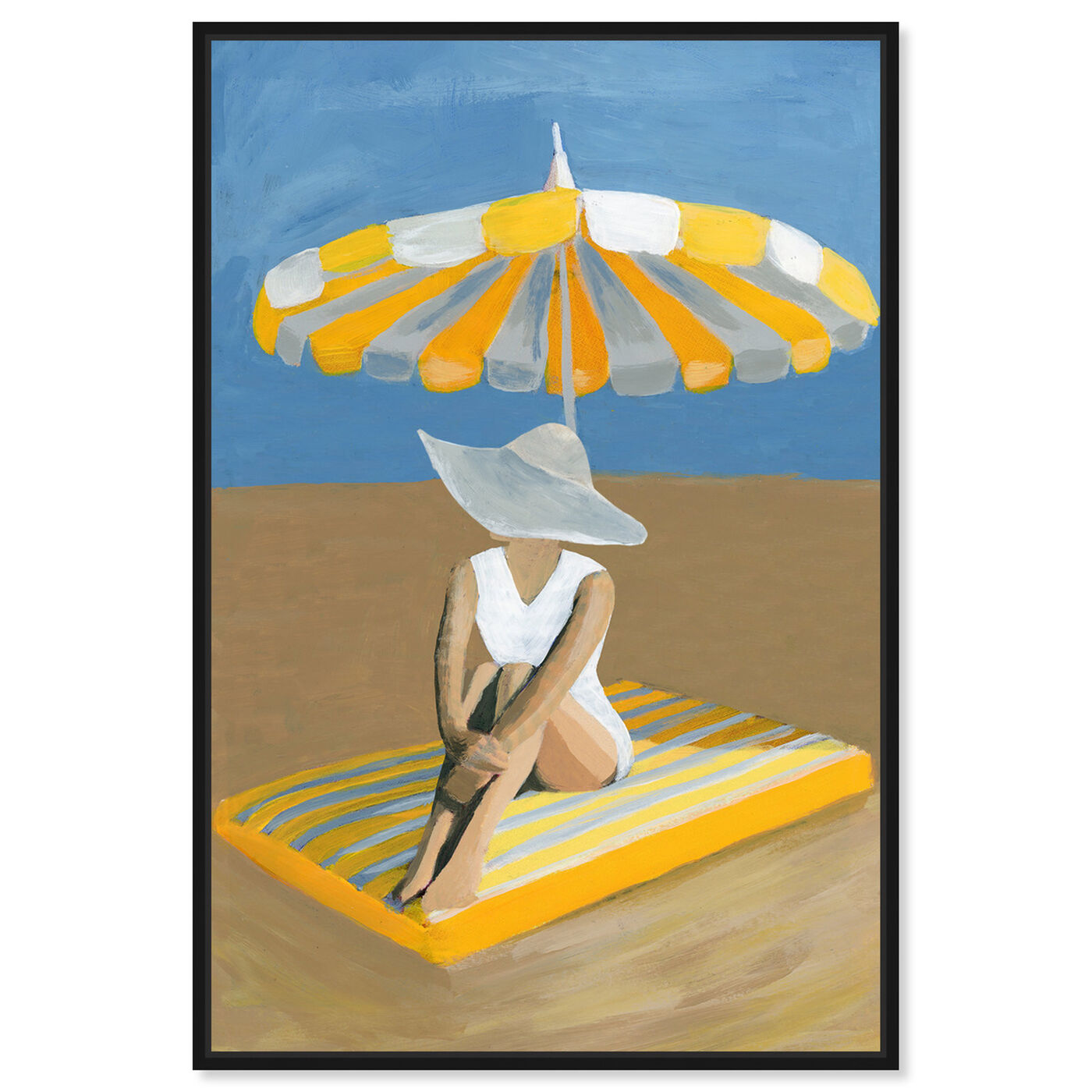 Front view of Yellow Umbrella featuring fashion and glam and swimsuit art.