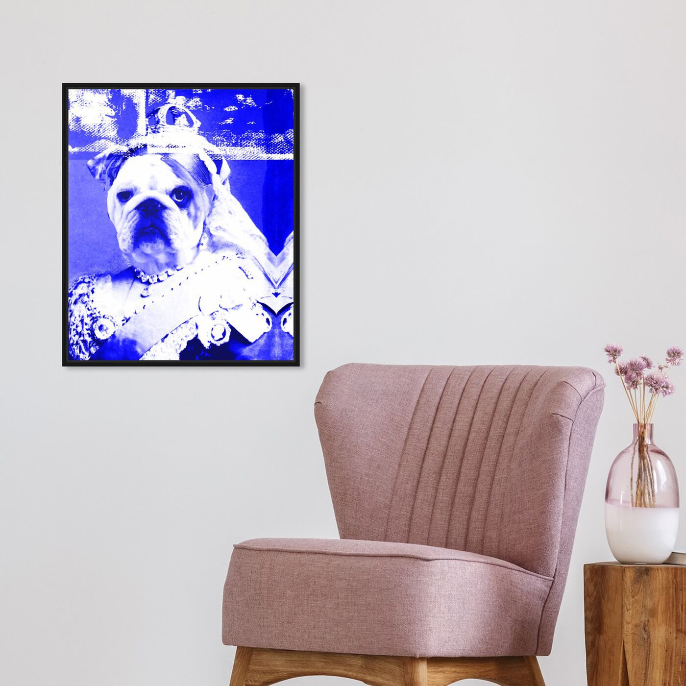 Hanging view of Queen Victoria featuring animals and dogs and puppies art.