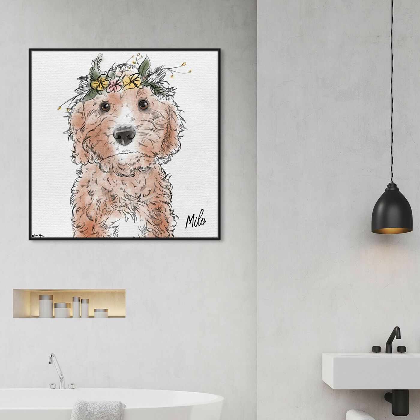 Hanging view of Flower Crown Pet featuring animals and dogs and puppies art.