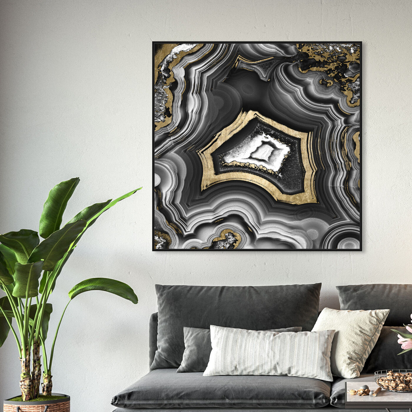 Hanging view of Adoregeo Square featuring abstract and crystals art.