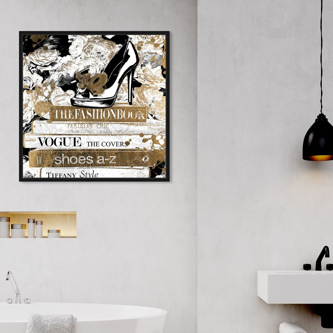 Hanging view of A Chic Library Gold featuring fashion and glam and books art.